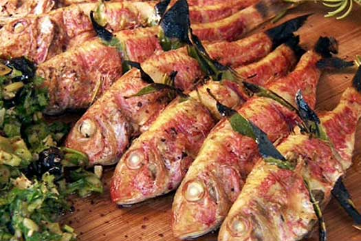 Red Mullet ,Quality  Greek Traditional Food by Sirtaki
