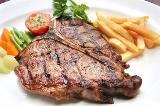 T-bon steak grilled ,Quality  Greek Traditional Food by Sirtaki
